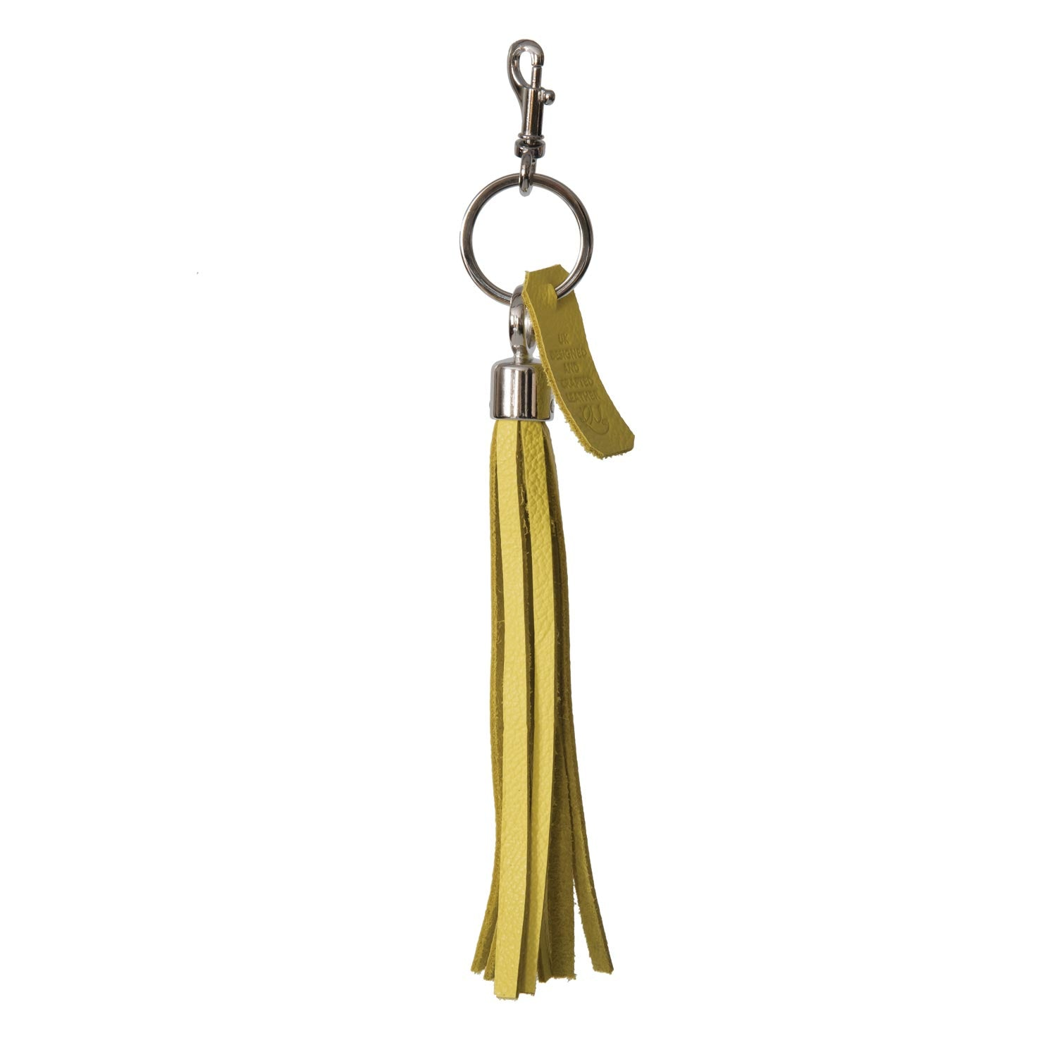 Bluebell Leather Tassel Key Ring / Bag Charm -  Yellow Biker