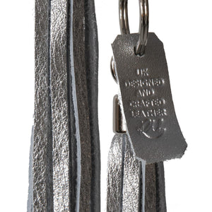 Bluebell Leather Tassel Key Ring / Bag Charm - Silver Vegas