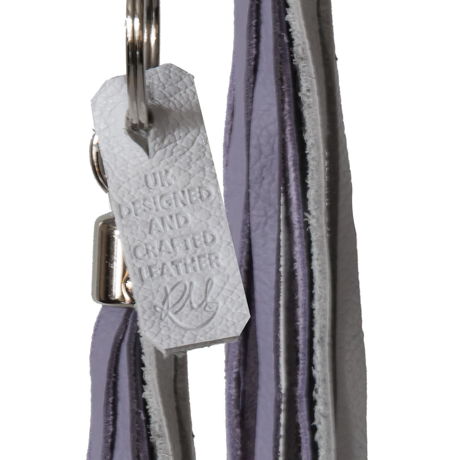 Bluebell Leather Tassel Key Ring / Bag Charm - Lilac moto and white biker
