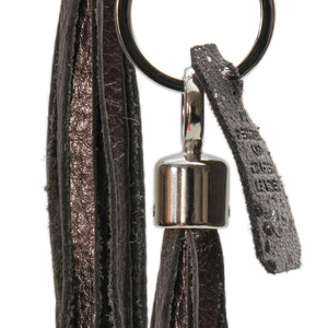 Bluebell Leather Tassel Key Ring / Bag Charm - Pewter Vegas