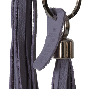 Bluebell Leather Tassel Key Ring / Bag Charm - Lilac moto