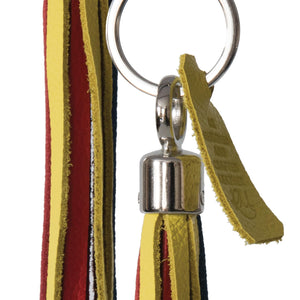 Bluebell Leather Tassel Key Ring / Bag Charm - Bright multi coloured Biker