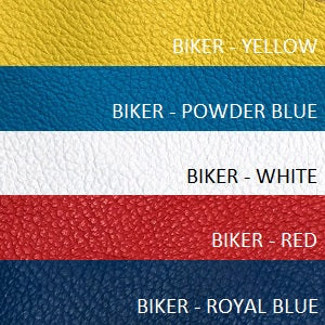 biker leather red yellow white blue