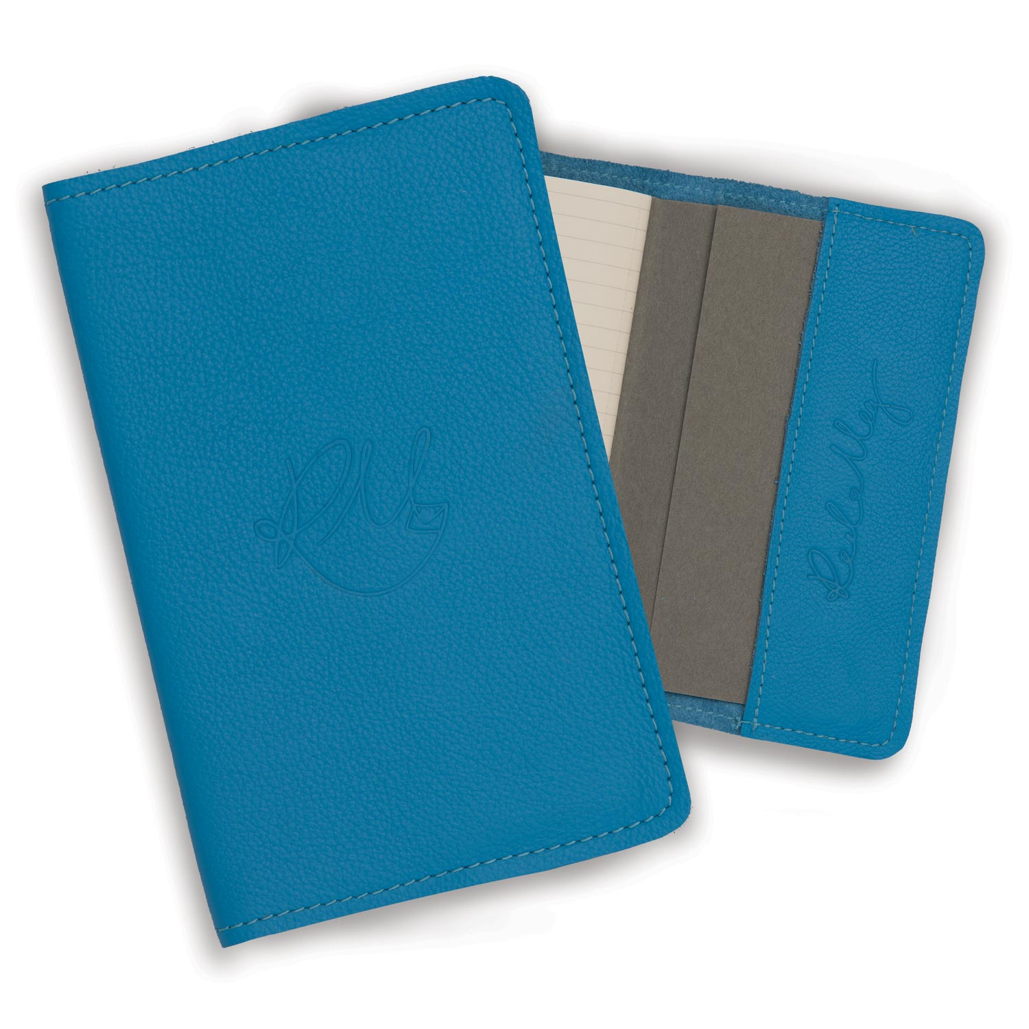 Leather Notebook - Powder Blue Biker