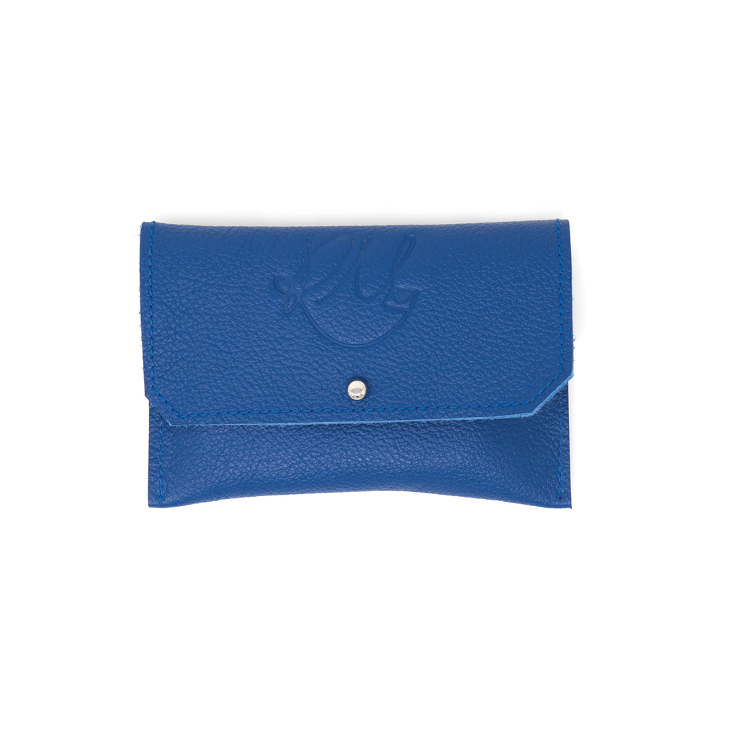 Dahlia coin purse - Blue Biker leather