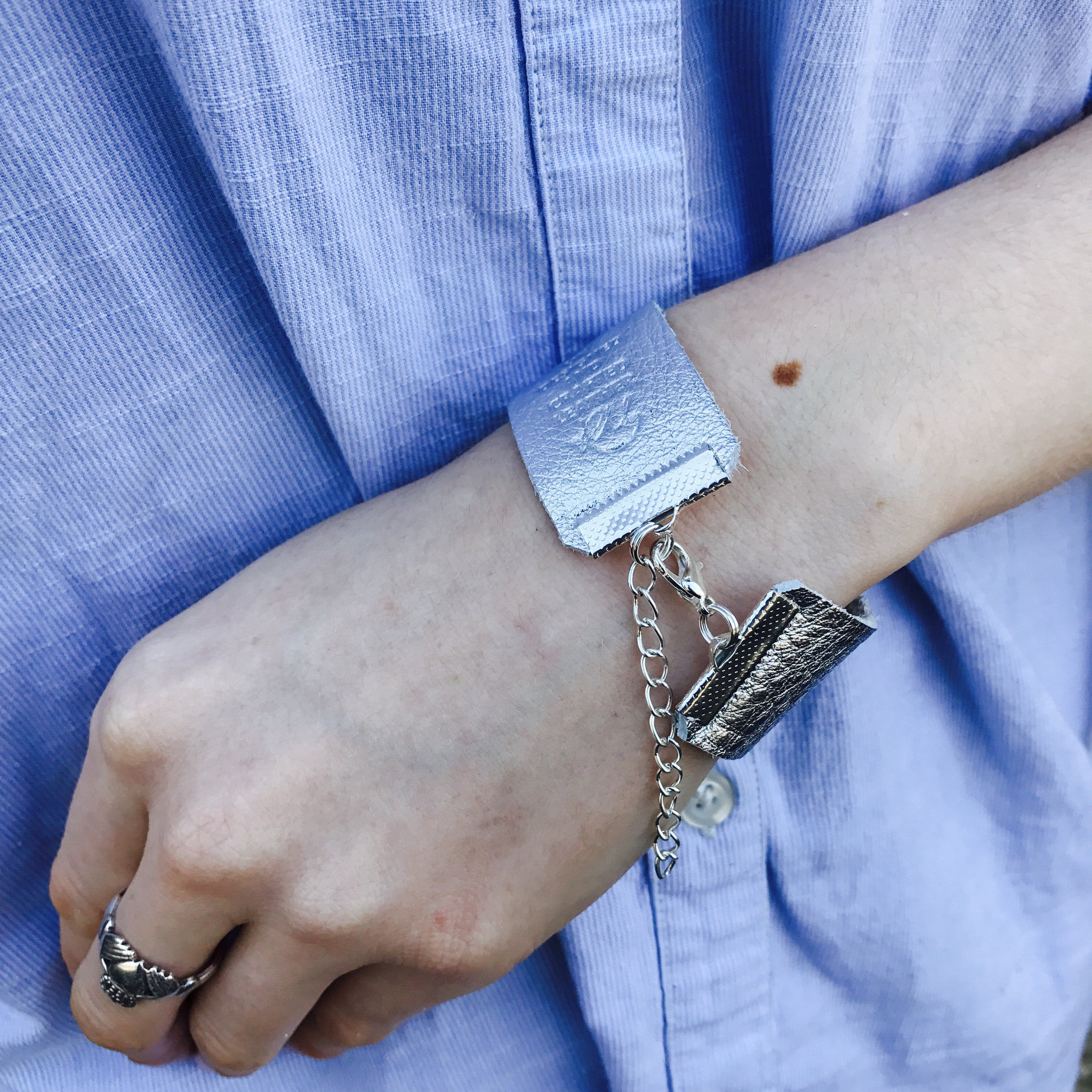 NEW IN - Leather bracelet - thick band - Silver`