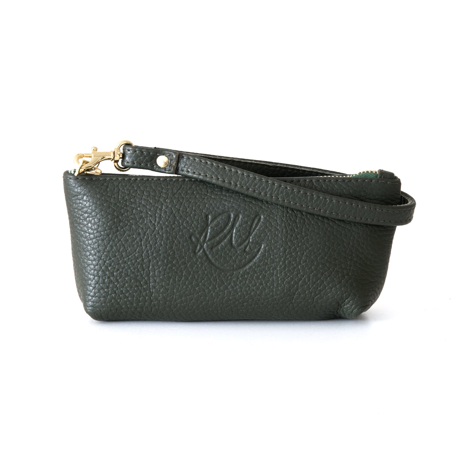Poppy small leather clutch bag - Dark Green