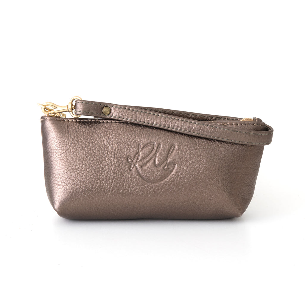 Poppy small leather clutch bag - Pewter