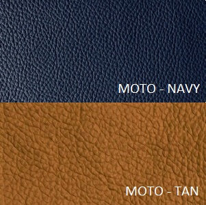 MOTO LEATHER NAVY AND TAN