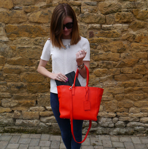 S/S 15 Sweet Pea Handbag in vibrant red leather