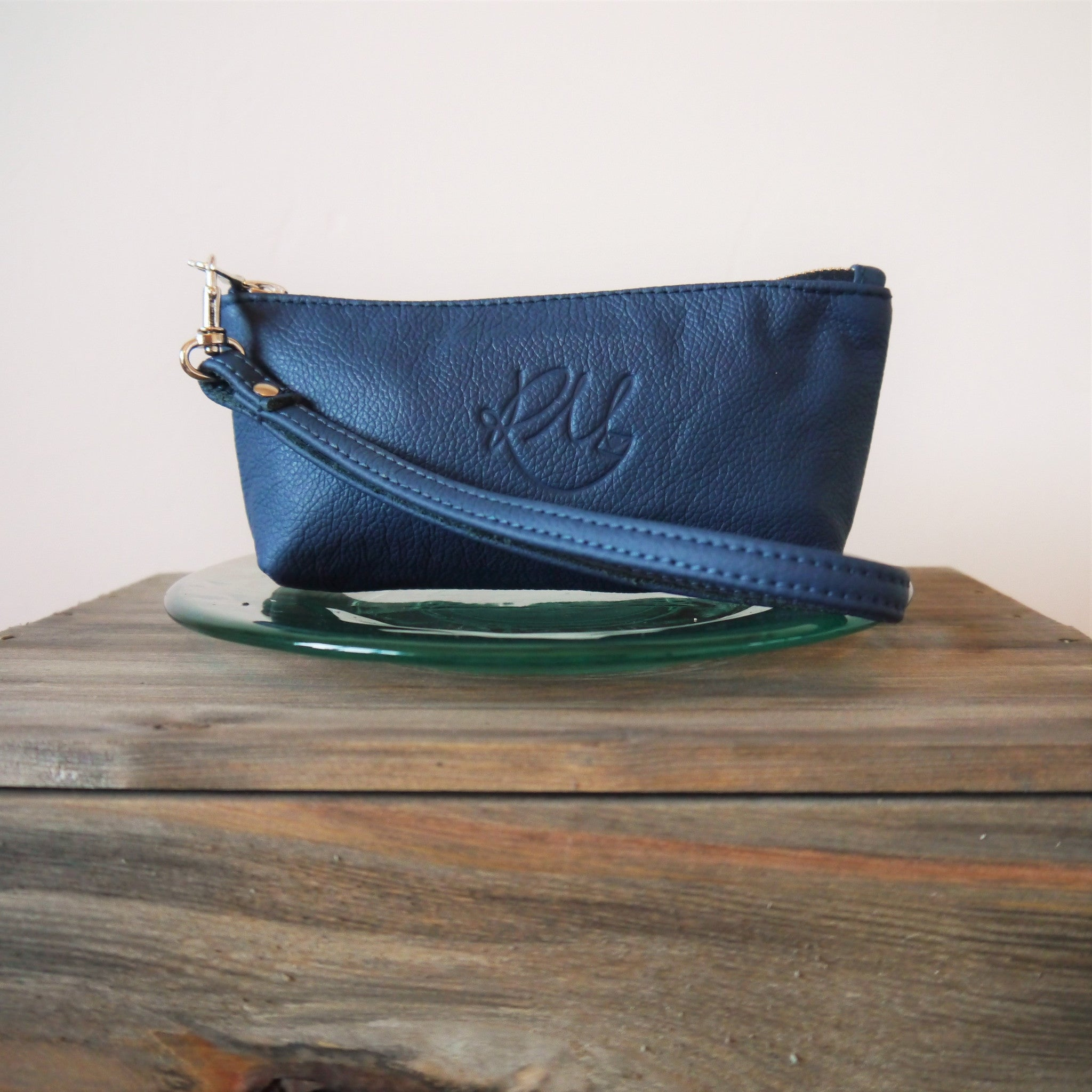 S/S16 Poppy small leather make up bag - Navy