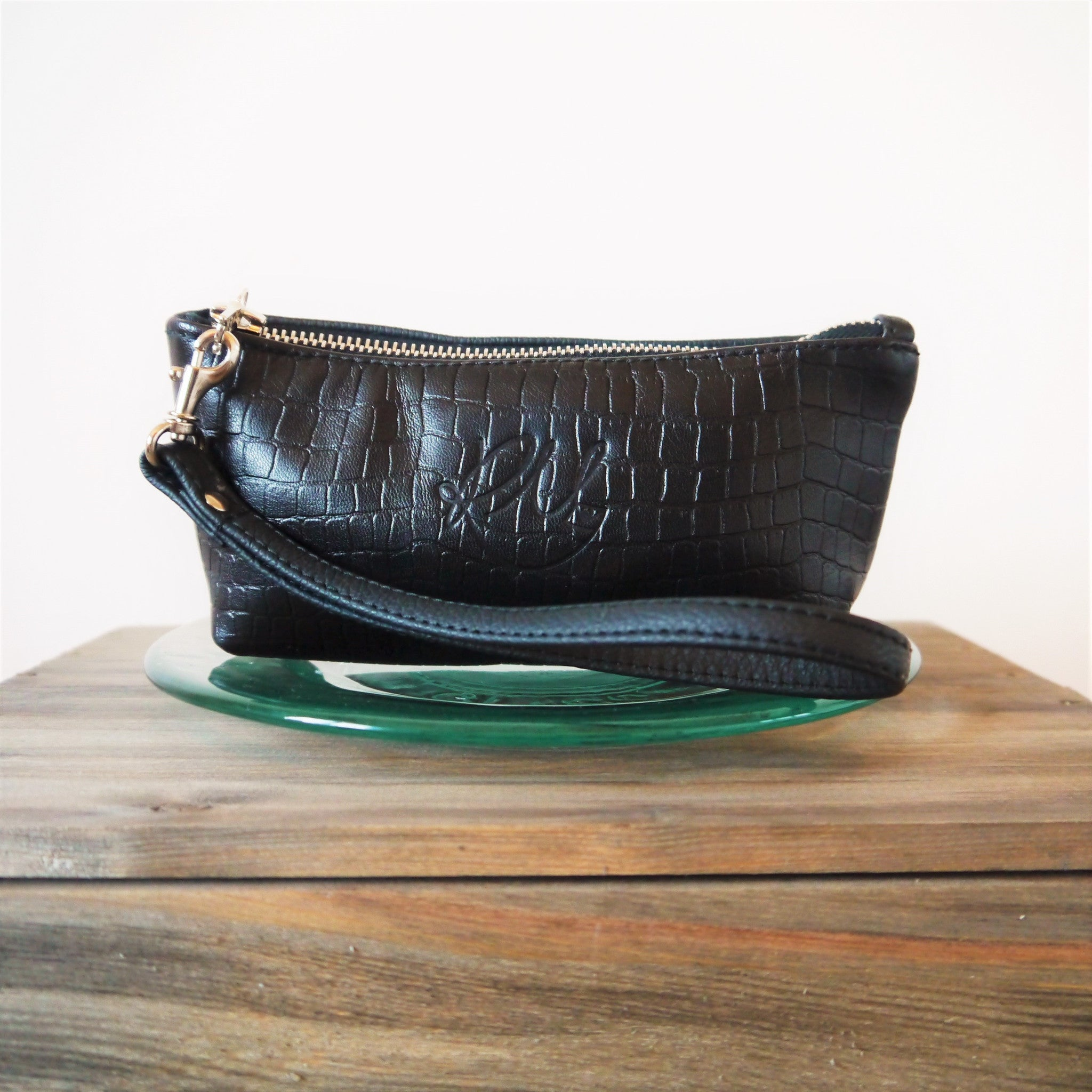 LIMITED EDITION S/S16 Poppy small leather make up bag - Croc print