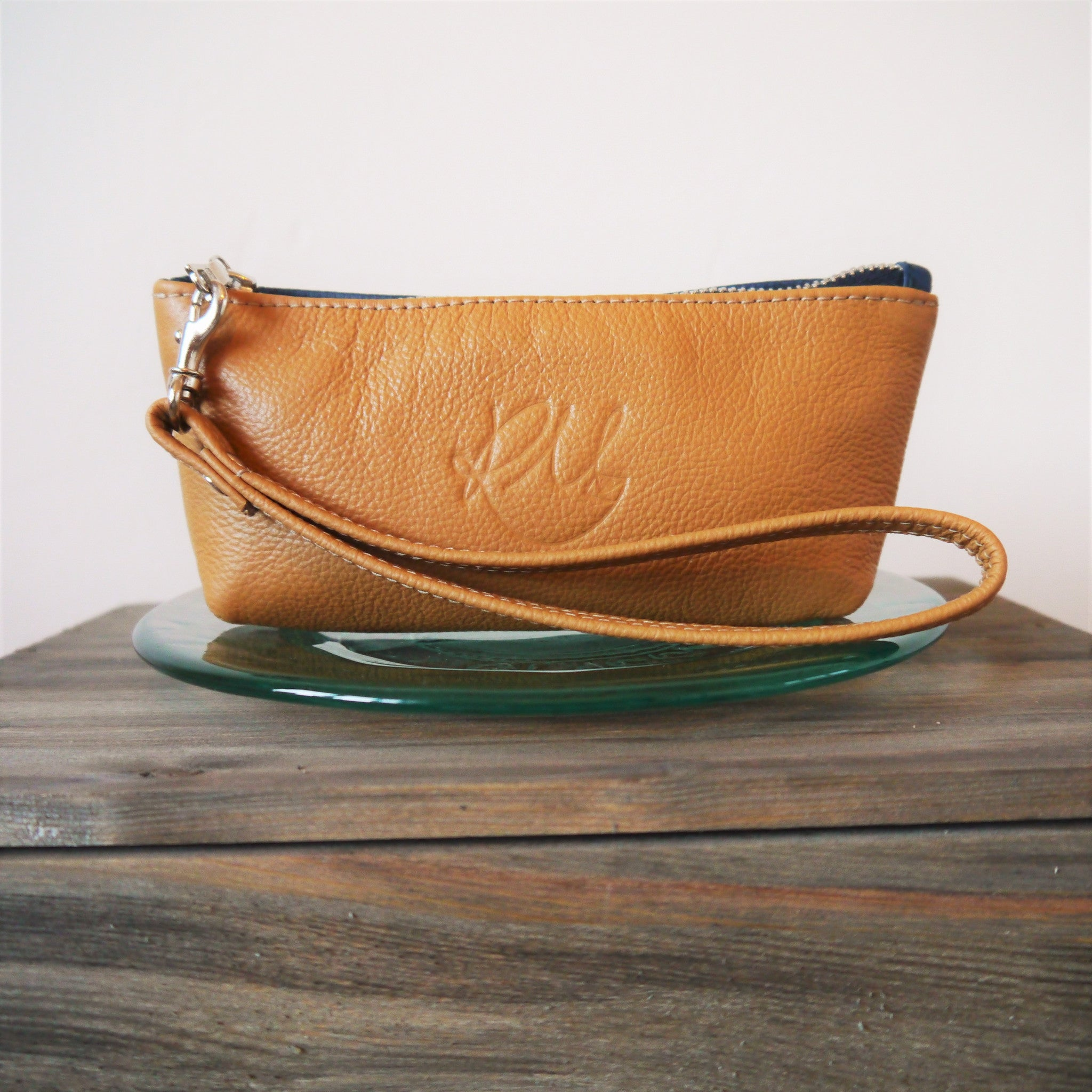 S/S16 Poppy small leather make up bag - Tan and Navy
