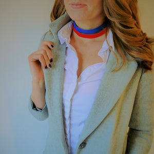 NEW IN - Leather choker - double band - Red and blue
