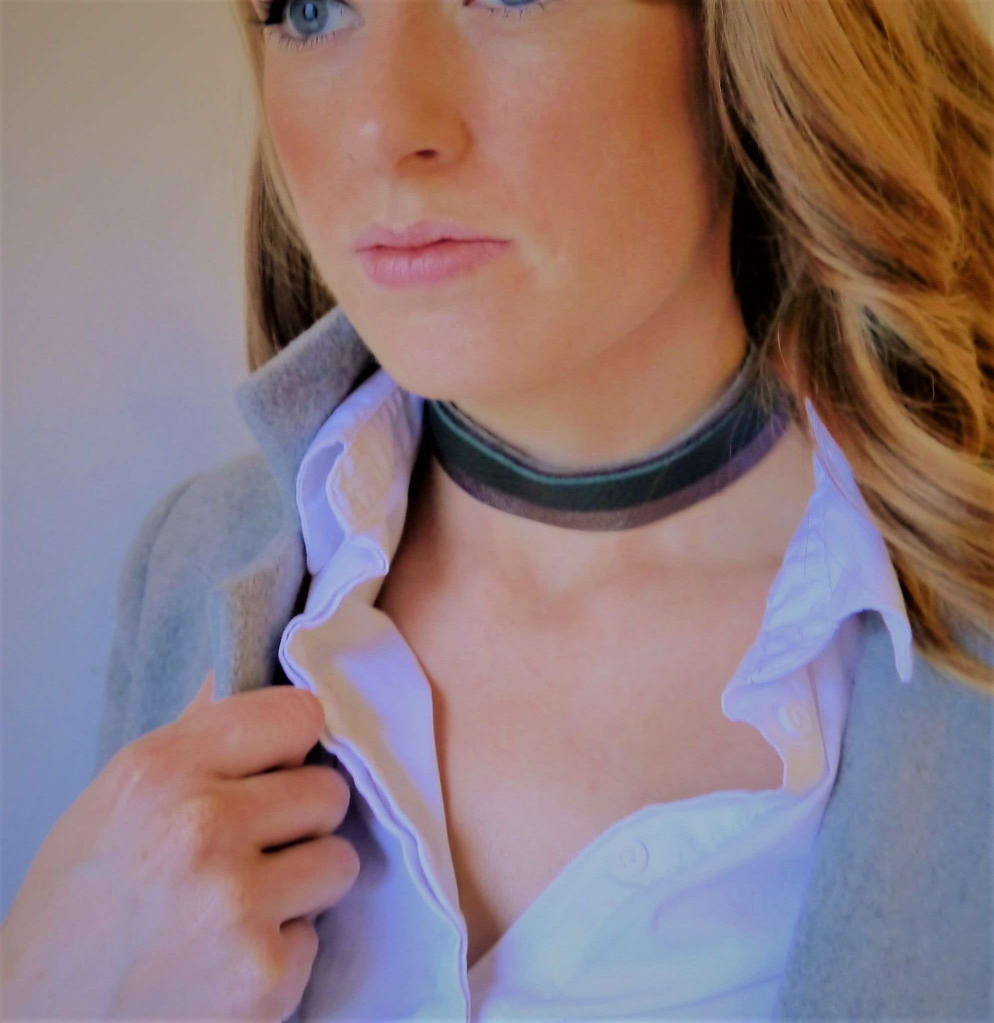 NEW IN - Leather Choker - double band - Pewter and Green