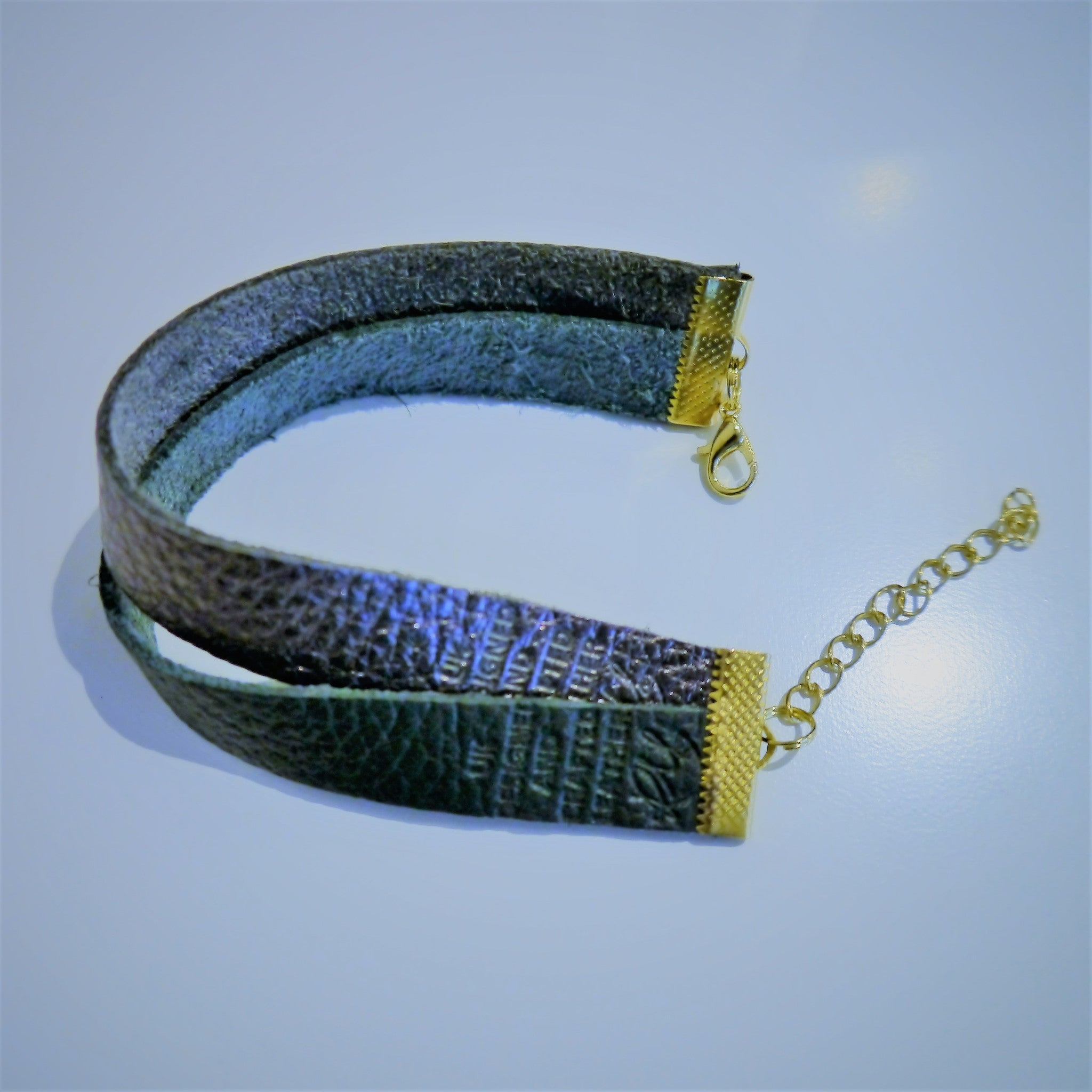 NEW IN - Leather bracelet - double band - Pewter and Green