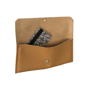 Dahlia card purse -  Tan motto leather