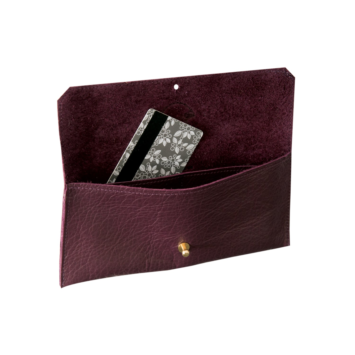 Dahlia card purse -  Wine nassau leather