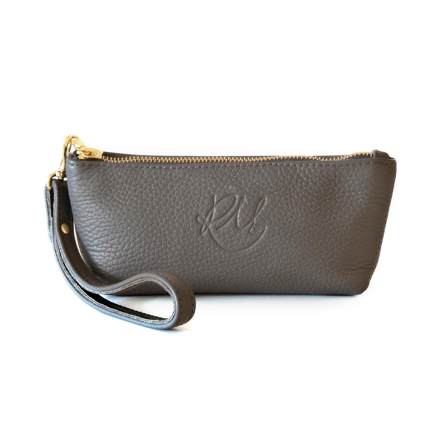 Poppy small leather clutch bag - Dark Grey