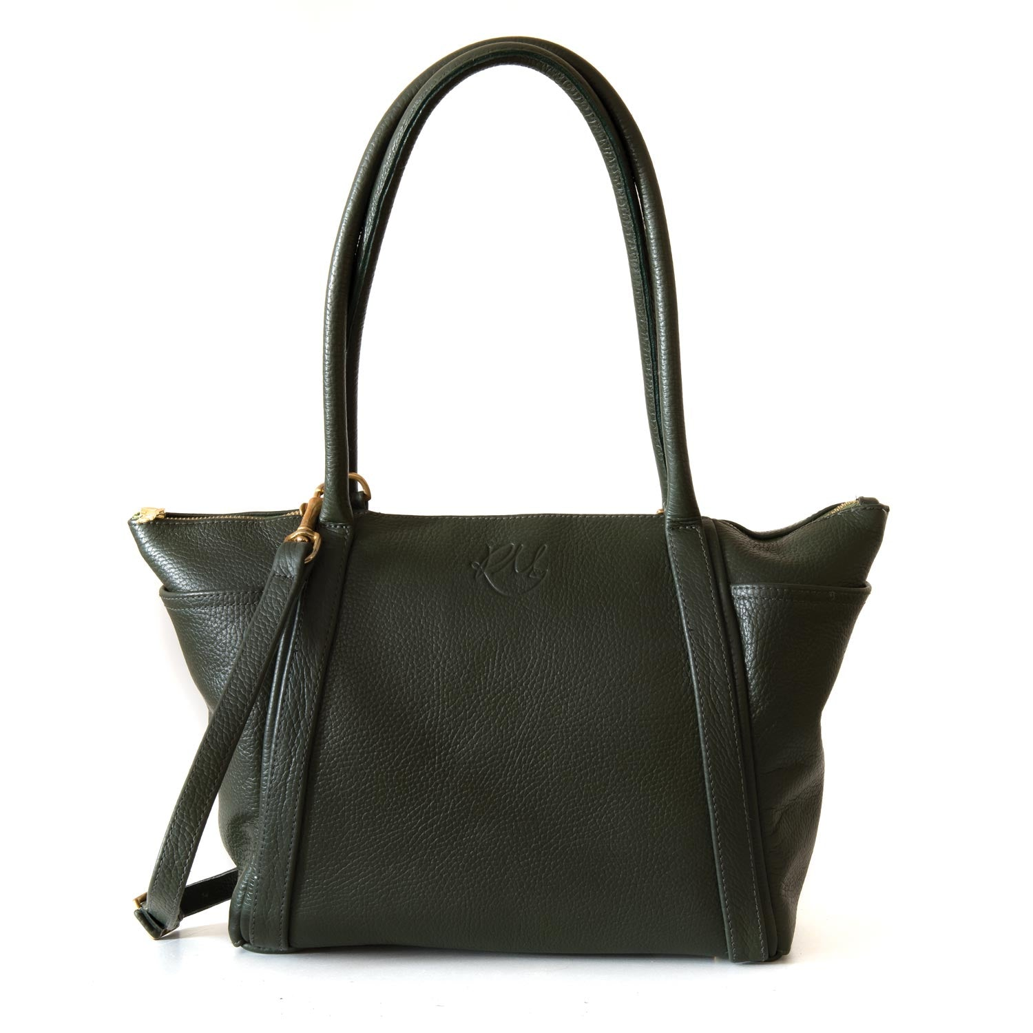 Forget Me Not Handbag in forest green leather