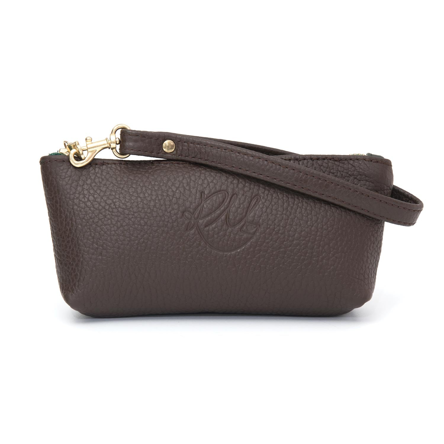 latest fashion hoard as a rare commodity top-rated authentic Poppy small leather clutch bag - Chocolate Brown and Green ...