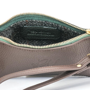 Poppy small leather clutch bag - Chocolate Brown and Green mix