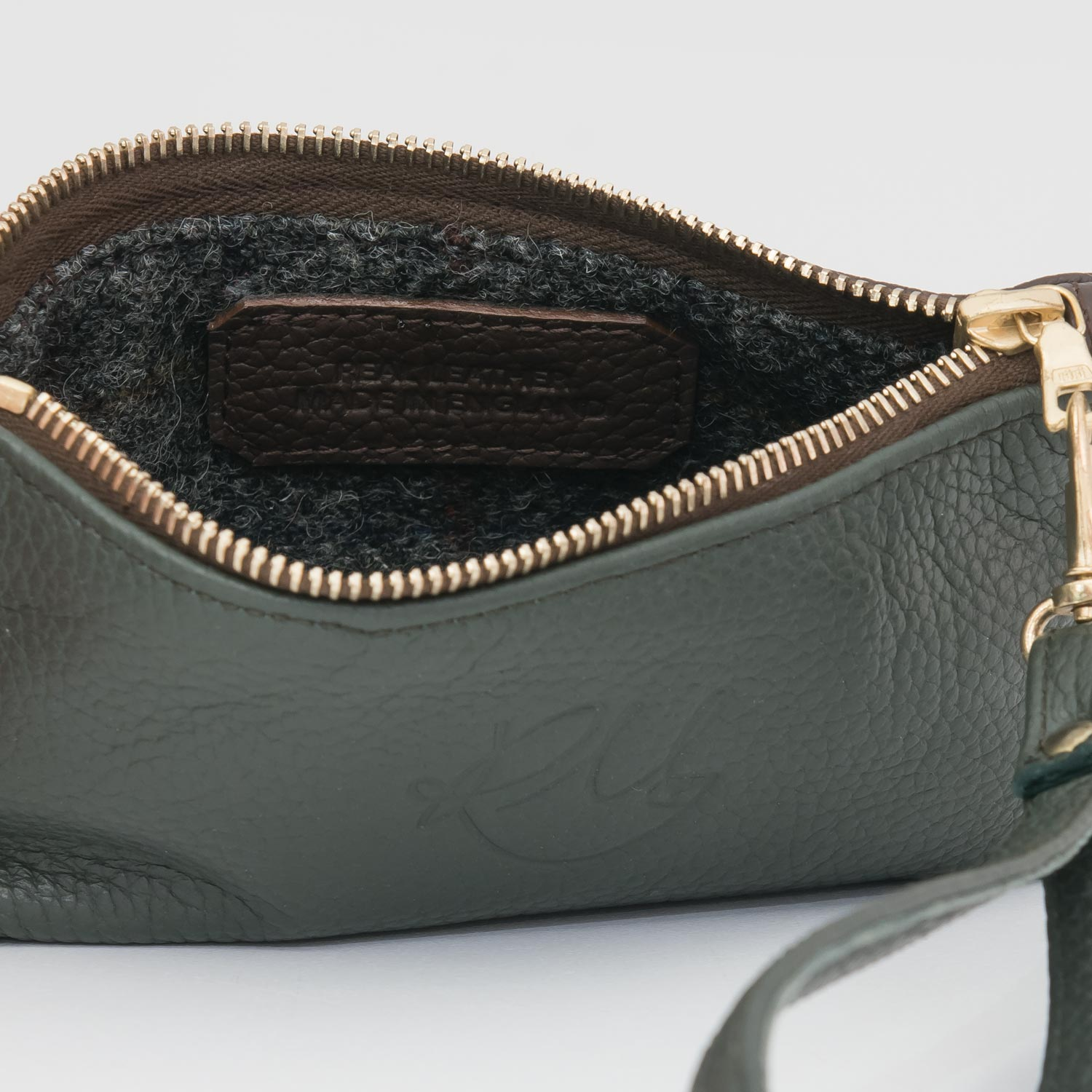 Poppy small leather clutch bag - Dark Green and brown mix
