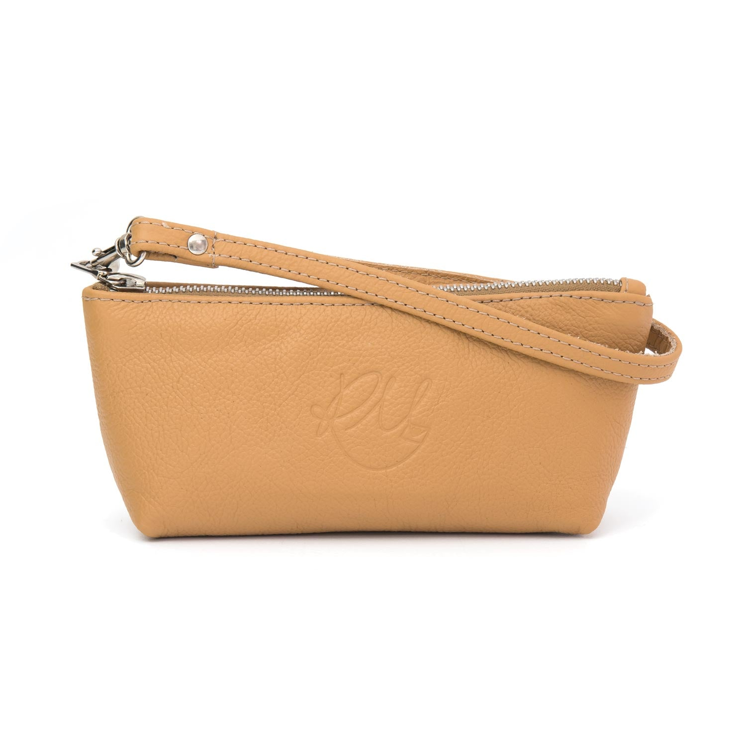 Poppy small leather clutch bag - Tan motorollo
