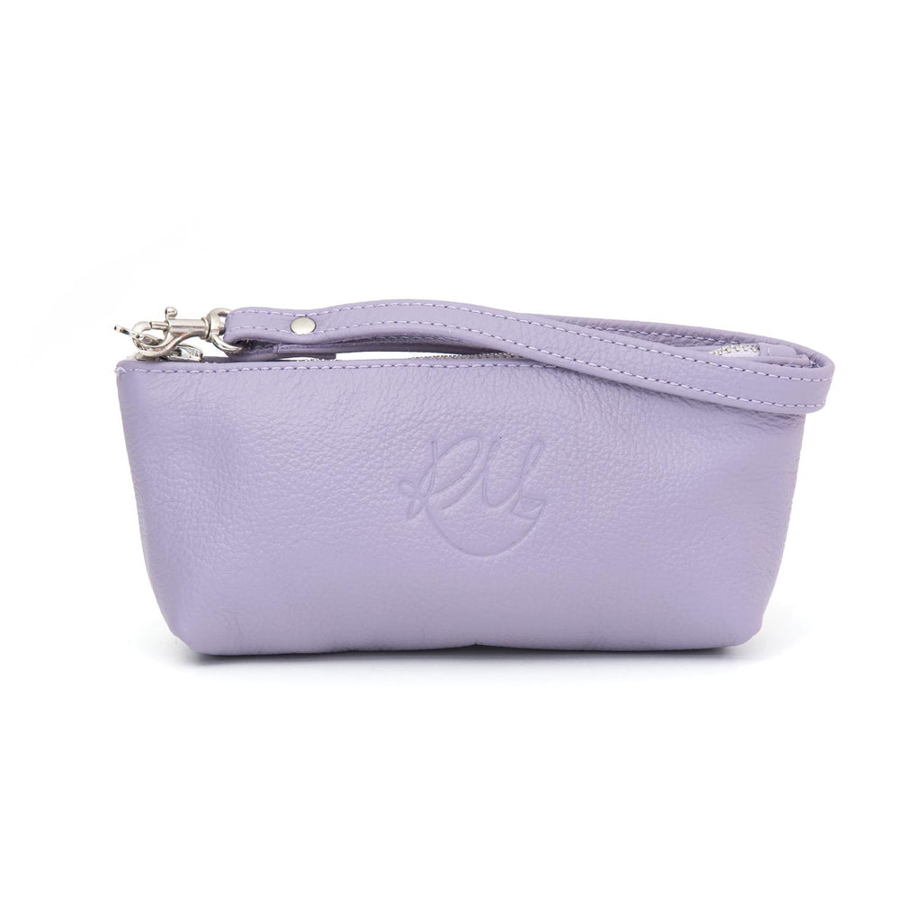 Poppy small leather clutch bag - Lilac moto