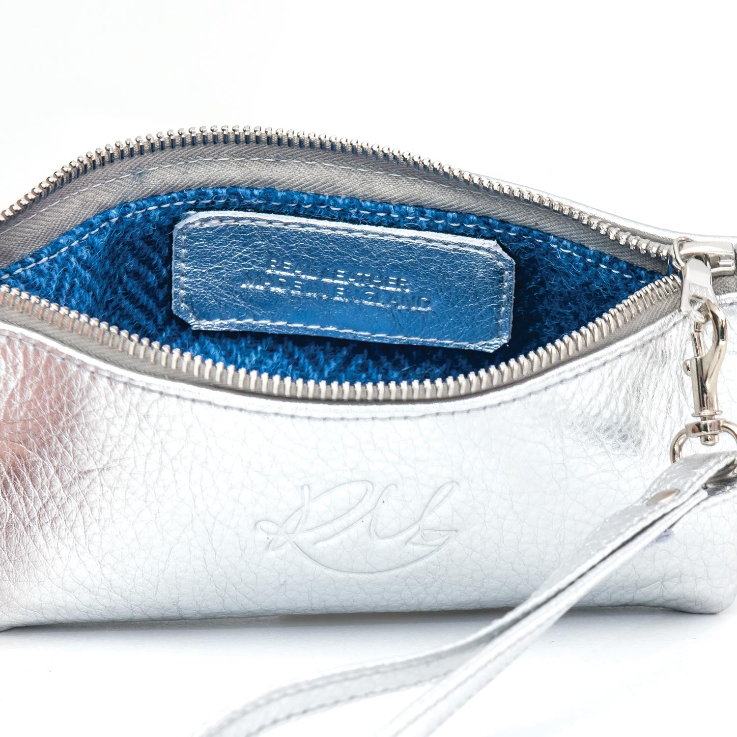 Poppy small leather clutch bag - Silver