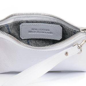 Poppy small leather clutch bag - white biker