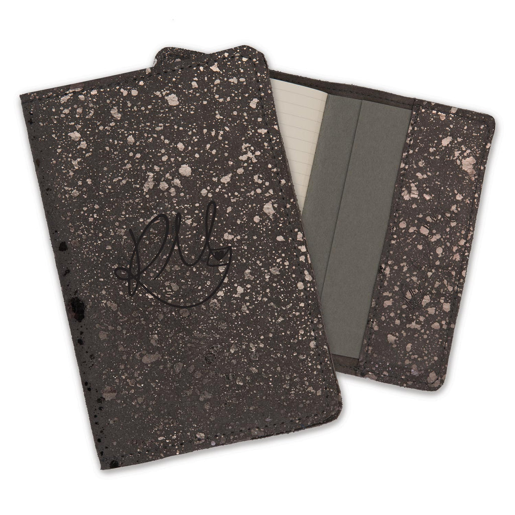 Leather Notebook - Sprinkle metallic suede