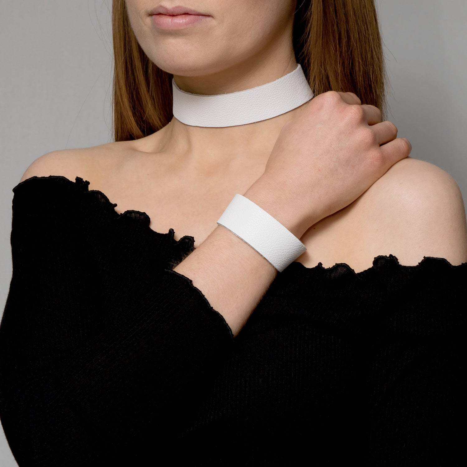 White biker leather choker necklace - Thick band