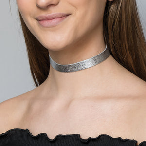 Silver Vegas leather choker necklace - Thin band