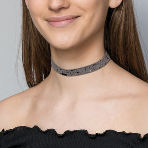 Sprinkle metallic suede choker necklace - Thin band
