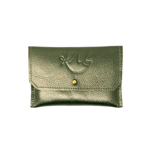Dahlia coin purse -  Pewter Vegas leather