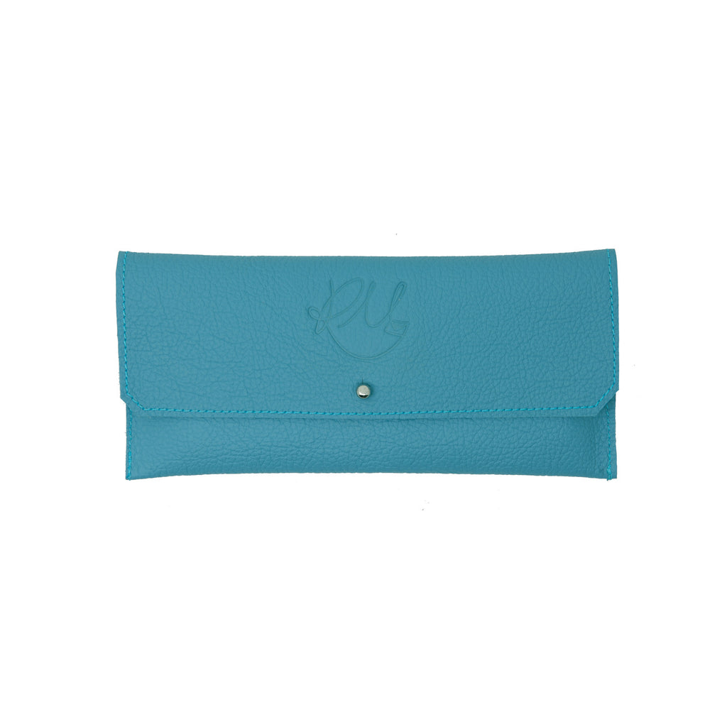 Dahlia card purse -  Sky Blue motto leather