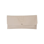Dahlia card purse -  Cream motto leather