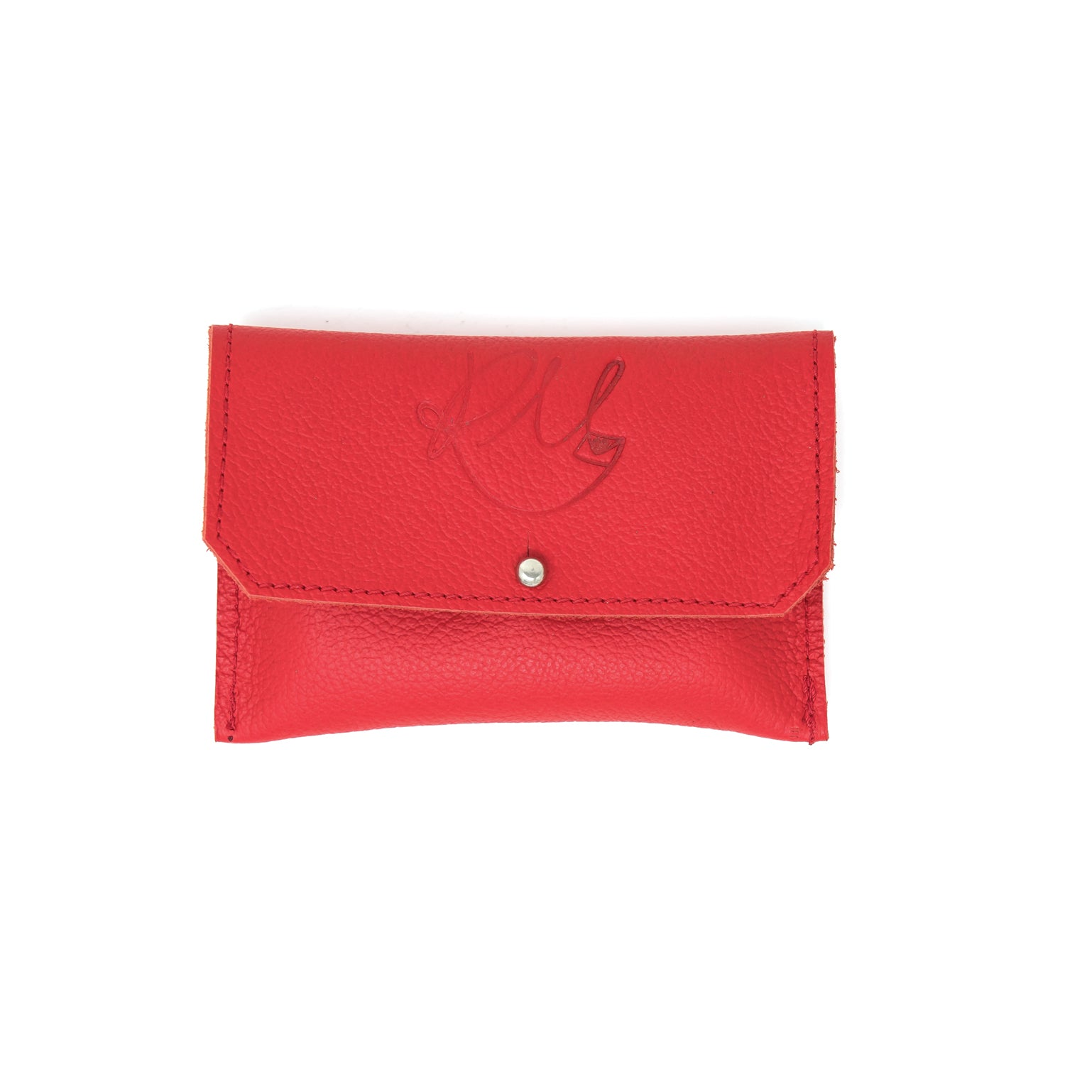 Dahlia coin purse - Red Biker leather