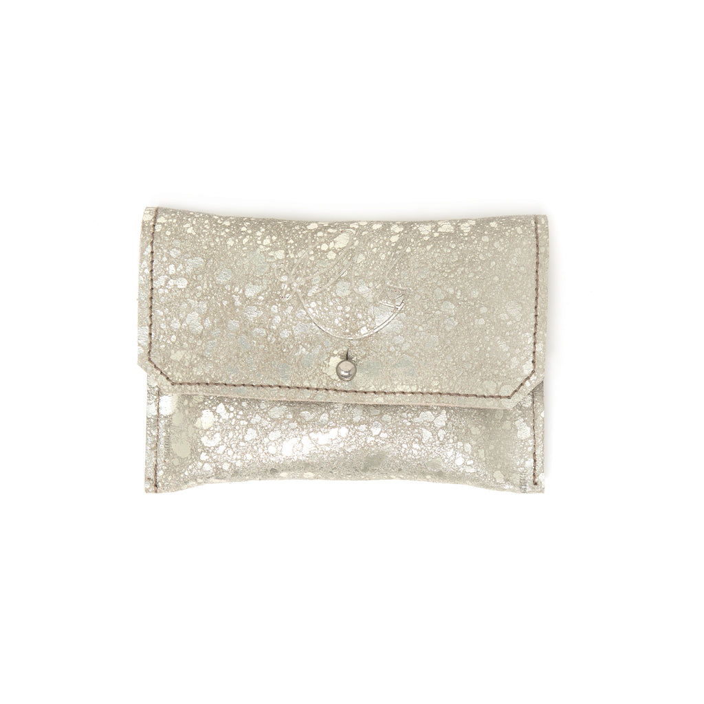 Dahlia coin purse - Platinum metallic leather