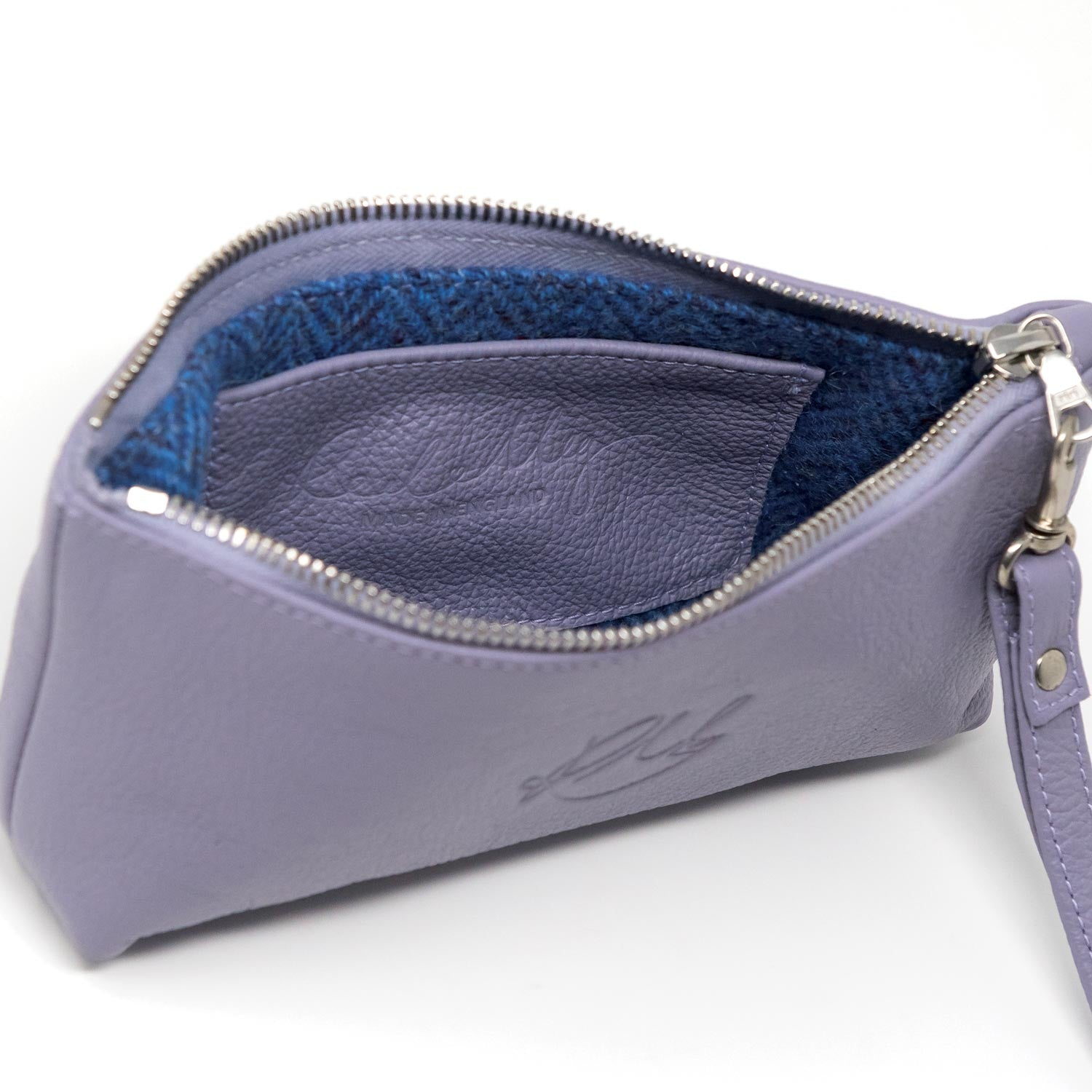 Poppy Large leather clutch bag - Lilac moto