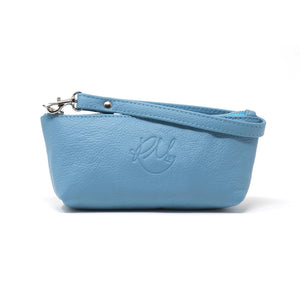Poppy small leather clutch bag - Sky Blue moto