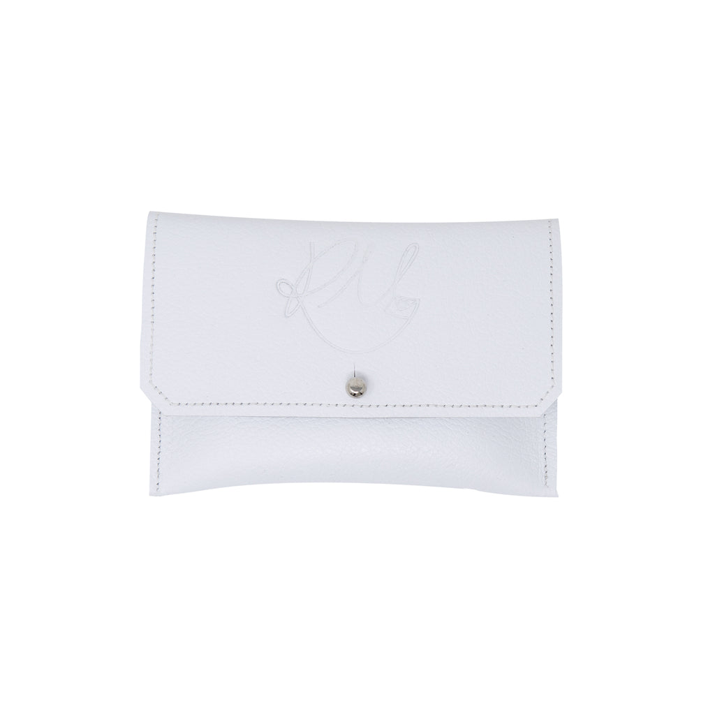 Dahlia coin purse - White Biker leather