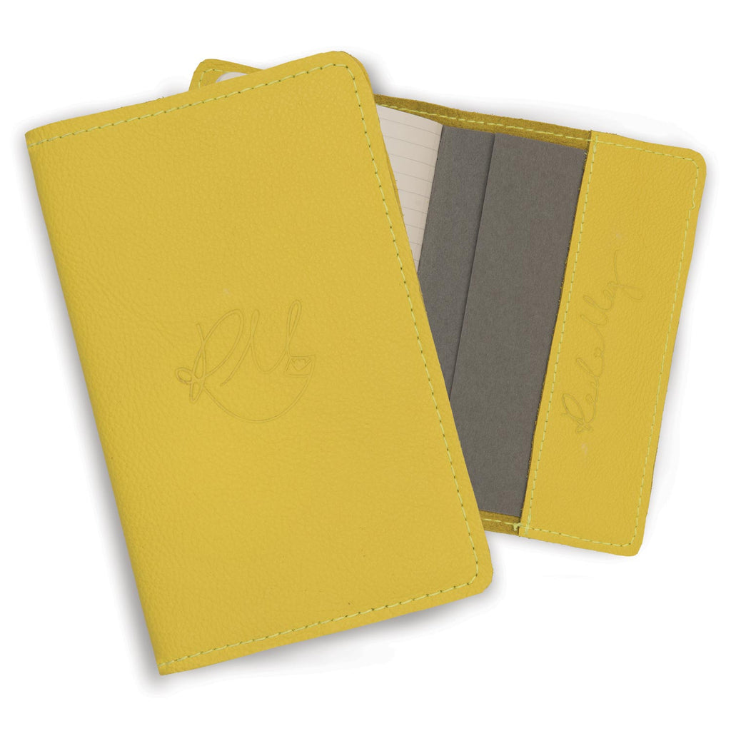 Leather Notebook - Yellow Biker