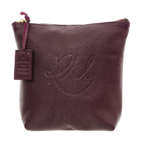 Poppy Leather Make Up Bag in Wine - Medium