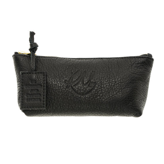 Poppy Leather Make Up Bag in Black - Small