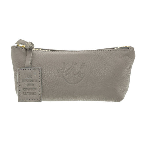 Poppy Leather Make Up Bag in Grey - Small