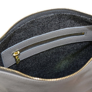 Poppy Leather Make Up Bag in Grey - Large