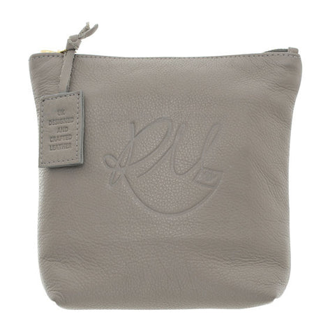 Poppy Leather Make Up Bag in Grey - Medium