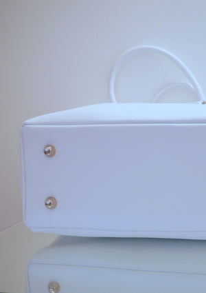 S/S 15 Sweet Pea Handbag in brillaint white leather